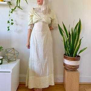 Antique 1890s/1900s Victorian yellow lace dress